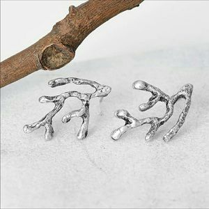 Silver-Toned Coral Branched Studs